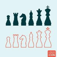 Ícone de xadrez isolado vetor