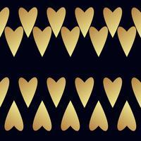 Padrão de ouro sem costura vector com corações. Ilustração vetorial