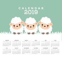 Calendar 2019 com desenhos animados bonitos dos carneiros. vetor