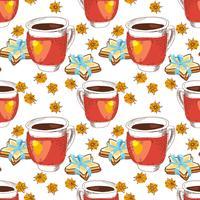 Copo de textura sem emenda de chá vetor