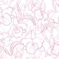 Sem costura padrão retro com orquídea vetor