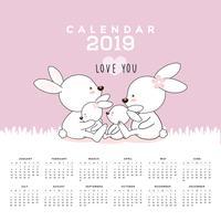 Calendário 2019 com coelhos bonitos. vetor
