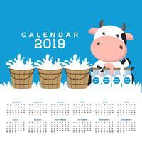 Calendário 2019 com vacas bonitos. vetor