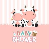 Cartão do chuveiro de bebê com vaca pequena. vetor