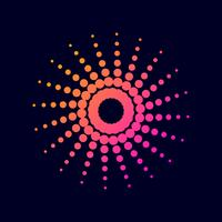Círculo de pontos de gradiente de meio-tom. vetor