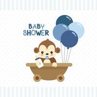 Cartão de saudação de chuveiro de bebê com pequeno macaco. vetor