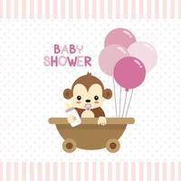 Cartão de saudação de chuveiro de bebê com pequeno macaco.