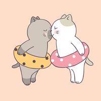 Gatos bonitos dos pares do verão dos desenhos animados que beijam o vetor.