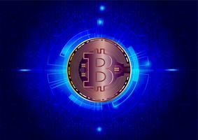 Abstrato da moeda digital Bitcoin para tecnologia, negócios e marketing on-line, ilustração vetorial vetor