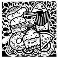 Comida bonito doodles estilo quadrado composto de bolinhos, hambúrgueres, donuts, batatas fritas, pizza, cachorro-quente e um copo de água. vetor