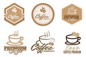 Jogo do café label.logo, crachá, coleção do emblema no fundo branco.