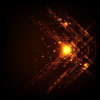 Vetor no conceito da tecnologia em um fundo alaranjado escuro.