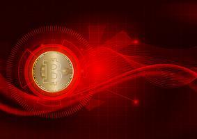 Abstrato de tecnologia de moeda digital Bitcoin para negócios e marketing on-line, ilustração vetorial vetor
