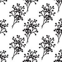 padrão sem emenda de ramos preto e branco.