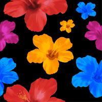 O hibiscus amarelo, azul e vermelho floresce, ilustração sem emenda floral de pattern.vector no fundo preto.