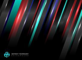 A tecnologia abstrata listrou linhas de cor azuis, vermelhas oblíquas com efeito da luz no fundo preto.