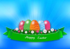 Fundo de férias de Páscoa com ovos e grama verde sobre fundo azul, ilustração vetorial