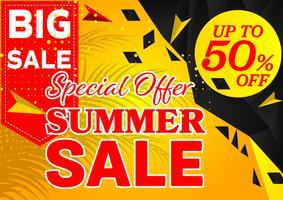 Banner oferta de venda especial de verão preto e amarelo cor fundo geométrico abstrato design moderno, ilustração vetorial vetor