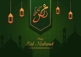 Eid Mubarak saudação fundo vetor