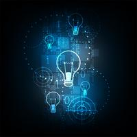 Tecnologia digital no conceito de lâmpada. vetor