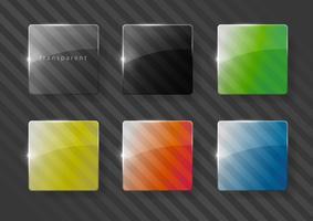 Conjunto de lentes multicoloridas feitas de vidro ou plástico. Cores RGB. Gráficos vetoriais com efeito de transparência