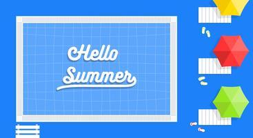 Férias de verão, ilustração em vetor cartaz piscina