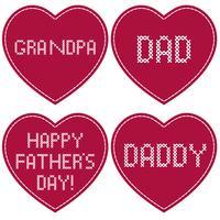 Dia dos pais bordado ponto cruz em corações vermelhos