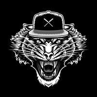 Tigre rugindo em arte de vetor de snapback
