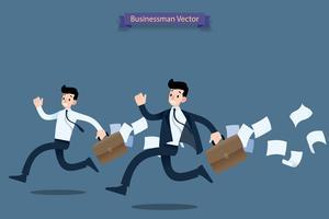 Empresário correndo corrida com pressa por trabalho tarde com mala e caindo papéis atrás e me sinto muito ocupado. vetor
