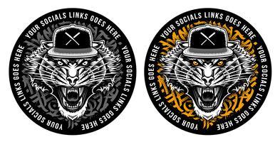 Tigre rujir em desenho de etiqueta de snapback vetor
