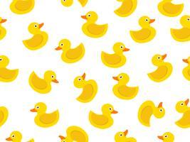 padrão sem emenda de pato de borracha amarelo sobre fundo branco vetor