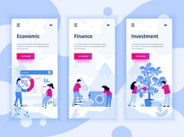 Conjunto de kit de interface de usuário de telas onboarding para economia, finanças, investimento, conceito de modelos de aplicativo móvel. Modern UX, tela de interface do usuário para site móvel ou responsivo. Ilustração vetorial vetor
