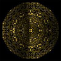 Ilustração em vetor decorativo vintage mandala cor de ouro