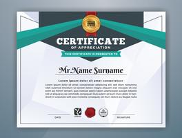 Design de modelo de certificado profissional moderno multiuso