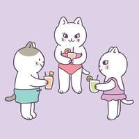 Gatos bonitos do verão dos desenhos animados e vetor da bebida.