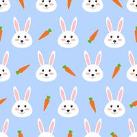 Padrão sem emenda de coelho branco bonito com cenoura no fundo branco - ilustração vetorial