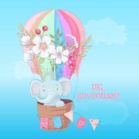 Cartaz do cartão de um elefante bonito em um balão com as flores no estilo dos desenhos animados. Desenho à mão.