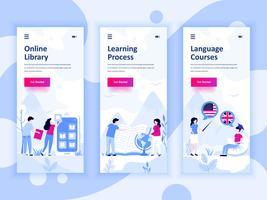 Conjunto de kit de interface de usuário de telas de integração para biblioteca, aprendizagem, cursos de idiomas, o conceito de modelos de aplicativo móvel. Modern UX, tela de interface do usuário para site móvel ou responsivo. Ilustração vetorial