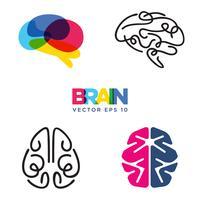 Conjuntos de coleta de símbolo do cérebro vetor