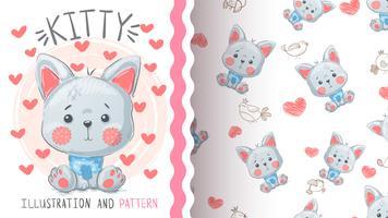 Raposa de gato bonito - padrão sem emenda vetor