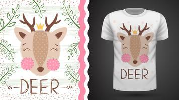 Ideia bonito dos cervos para o t-shirt da cópia. vetor