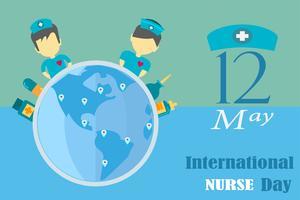 Dia internacional da enfermeira em maio de cada ano design por vetor no conceito de tom de tonalidade