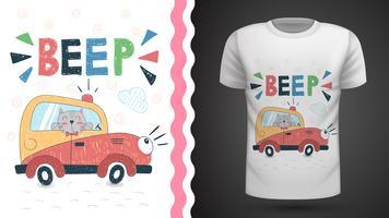 Gato em carro - idéia para impressão t-shirt.