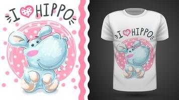 Hipopótamo fofo, hipopótamo - padrão sem emenda vetor