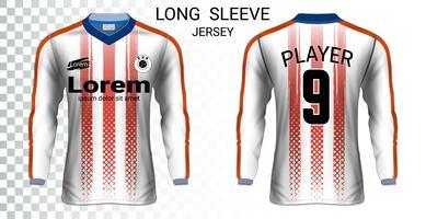 Camisas de futebol de manga comprida camisetas modelo de maquete, Design gráfico para uniformes de futebol. vetor