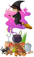 Bruxa com vassoura mágica e cerveja vetor