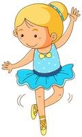 Linda garota fazendo balé no fundo branco vetor