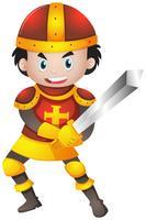 Cavaleiro com armadura vermelha vetor