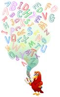 Papagaio, leitura, livro inglês vetor