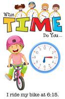 Um menino andando de bicicleta às 6:15 vetor
